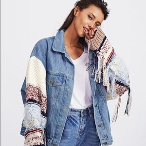 Oversized Denim and Knit Fringe Jacket